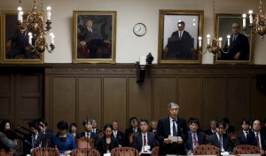 BOJ Governor Kuroda speaks during an upper house financial committee meeting of the Parliament in Tokyo