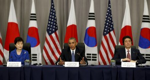 President Obama in trilateral meeting with Korean and Japanese leaders at the Nuclear Summit  in Washington