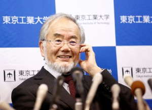 Yoshinori Ohsumi, a professor of Tokyo Institute of Technology, smiles during a news conference after he won the Nobel medicine prize at Tokyo Institute of Technology in Tokyo