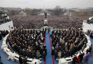 President Donald Trump takes the oath of office during inauguration ceremonies swearing in Donald Trump as the 45th president of the United States